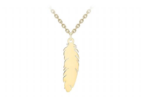 9ct Yellow Gold 16 inch Feather Necklace                                  7584